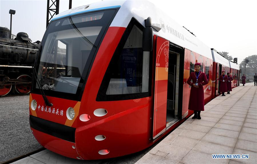 A tram powered by hydrogen fuel cells is seen in Tangshan, north China's Hebei Province, Oct. 27, 2017. China's annual political sessions of the National People's Congress (NPC) and the National Committee of the Chinese People's Political Consultative Conference (CPPCC) are scheduled to convene in March, 2018. During the two sessions, development agendas will be reviewed and discussed, and key policies will be adopted. Year 2018 marks the first year of fully implementing the spirit of the 19th National Congress of the Communist Party of China, which vowed to pursue the vision of innovative, coordinated, green, and open development that is for everyone. The CPC congress stressed that building an ecological civilization is vital to sustain the Chinese nation's development, &quot;we must realize that lucid waters and lush mountains are invaluable assets.&quot; (Xinhua/Wang Xiao)<br/>