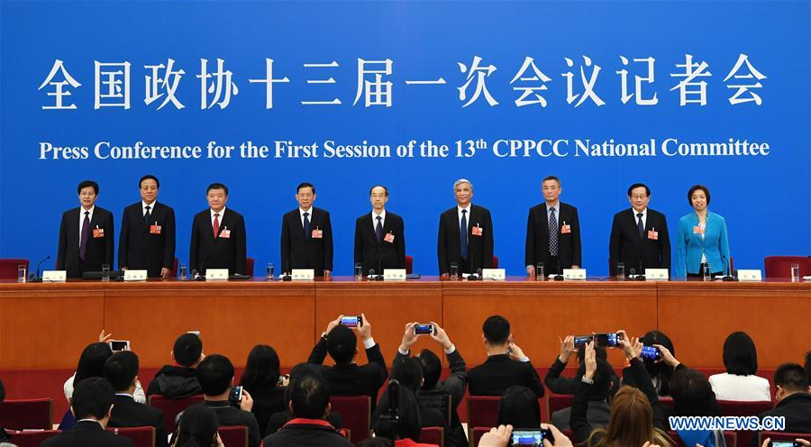 Leaders from non-Communist parties and the All-China Federation of Industry and Commerce attend a press conference during the first session of the 13th National Committee of the Chinese People's Political Consultative Conference (CPPCC) in Beijing, capital of China, March 6, 2018. (Xinhua/Shen Hong)<br/>