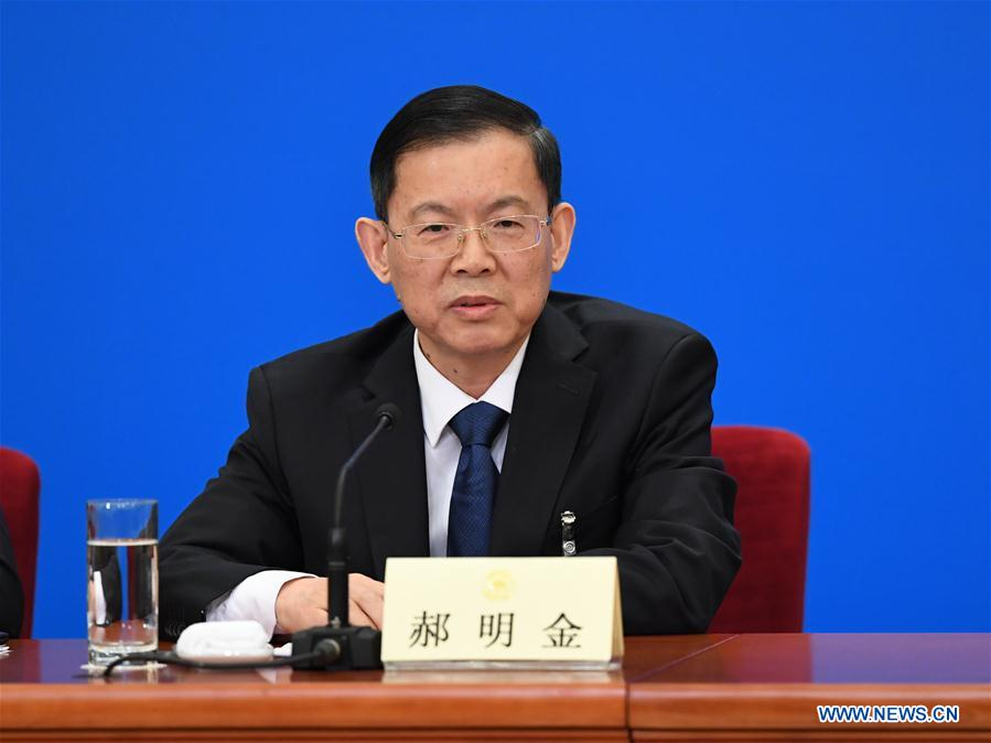 Hao Mingjin, chairman of the China National Democratic Construction Association, speaks at a press conference during the first session of the 13th National Committee of the Chinese People's Political Consultative Conference (CPPCC) in Beijing, capital of China, March 6, 2018. (Xinhua/Shen Hong)<br/>