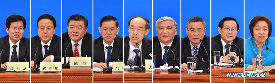 Combined photo shows Wan Exiang (5th L), chairman of the Central Committee of the Revolutionary Committee of the Chinese Kuomintang (RCCK), Ding Zhongli (4th R), chairman of the Central Committee of the China Democratic League (CDL), Hao Mingjin (4th L), chairman of the China National Democratic Construction Association, Cai Dafeng (3rd R), chairman of the Central Committee of the China Association for Promoting Democracy, Chen Zhu (3rd L), chairman of the Central Committee of the Chinese Peasants and Workers Democratic Party, Wan Gang (2nd R), chairman of the Central Committee of the China Zhi Gong Party, Wu Weihua (2nd L), chairman of the Central Committee of the Jiusan Society, Su Hui (1st R), chairperson of the central committee of the Taiwan Democratic Self-Government League, and Gao Yunlong (1st L), chairman of the All-China Federation of Industry and Commerce, at a press conference for the first session of the 13th National Committee of the Chinese People's Political Consultative Conference (CPPCC) in Beijing, capital of China, March 6, 2018. (Xinhua)
