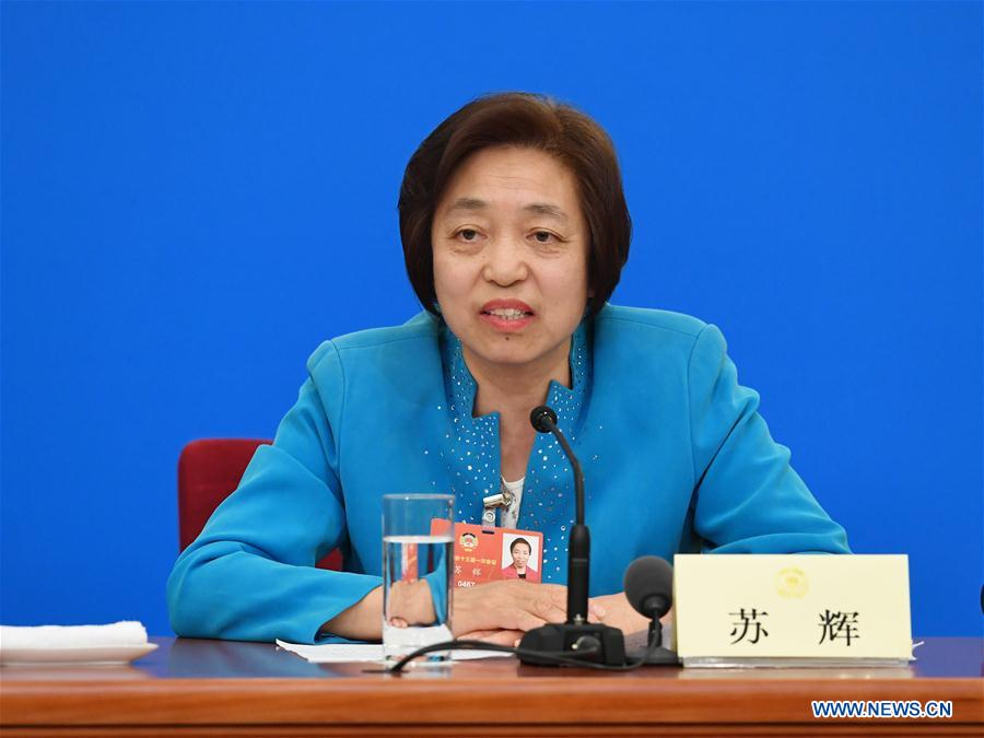Su Hui, chairperson of the central committee of the Taiwan Democratic Self-Government League, speaks at a press conference during the first session of the 13th National Committee of the Chinese People's Political Consultative Conference (CPPCC) in Beijing, capital of China, March 6, 2018. (Xinhua/Shen Hong)<br/>