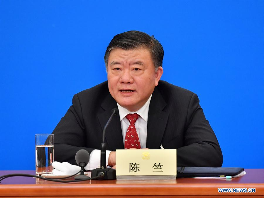 Chen Zhu, chairman of the Central Committee of the Chinese Peasants and Workers Democratic Party, speaks at a press conference for the first session of the 13th National Committee of the Chinese People's Political Consultative Conference (CPPCC) in Beijing, capital of China, March 6, 2018. (Xinhua/Li Xin)<br/>