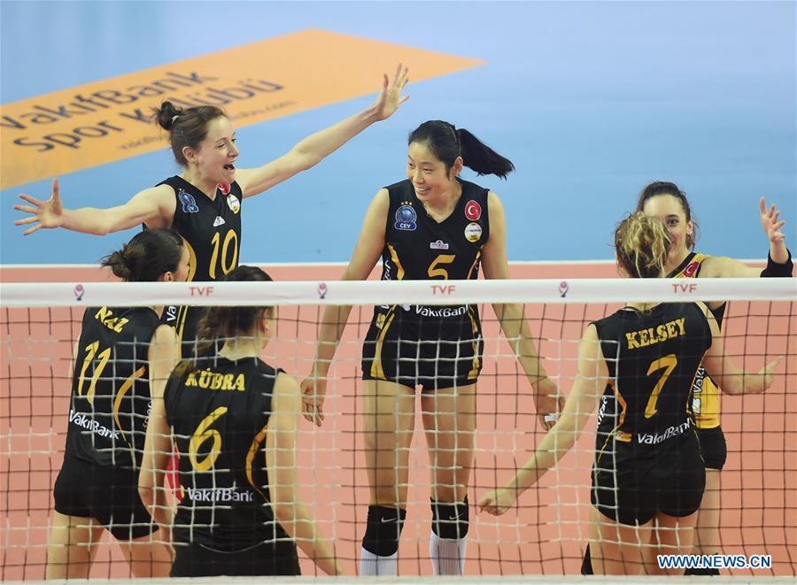 Vakifbank's players celebrate during the second leg match between Vakifbank and Besiktas of the 2017-2018 Turkish Women Volleyball League Playoffs Quarter Final in Istanbul, Turkey, on March 6, 2018. Vakifbank won 3-0 and was qualified for the semifinal. (Xinhua/He Canling)<br/>