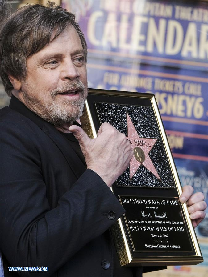 Actor Mark Hamill attends a star honoring ceremony on the Hollywood Walk of Fame in Los Angeles, the United States, March 8, 2018. Mark Hamill was honored with a star on the Hollywood Walk of Fame on Thursday. (Xinhua/Zhao Hanrong)