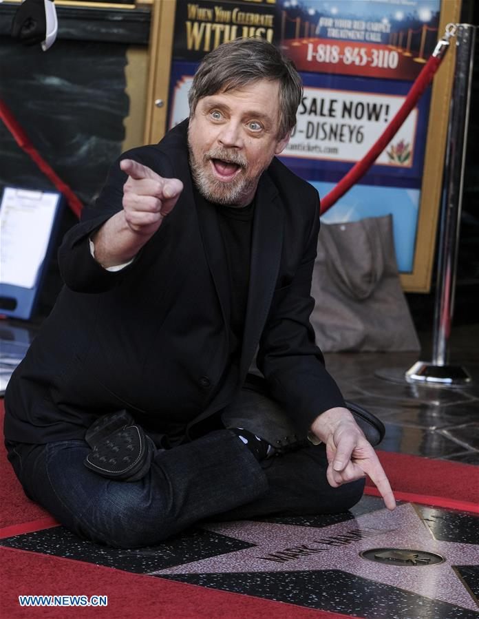 Actor Mark Hamill attends a star honoring ceremony on the Hollywood Walk of Fame in Los Angeles, the United States, March 8, 2018. Mark Hamill was honored with a star on the Hollywood Walk of Fame on Thursday. (Xinhua/Zhao Hanrong)<br/>