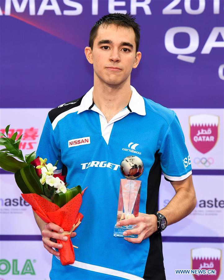 Hugo Calderano of Brazil attends the awarding ceremony of the men's singles event at the ITTF World Tour Platinum, Qatar Open in the Qatari capital Doha on March 11, 2018. Hugo Calderano lost to Fan Zhendong of China 0-4 in the final. (Xinhua/Nikku)<br/>