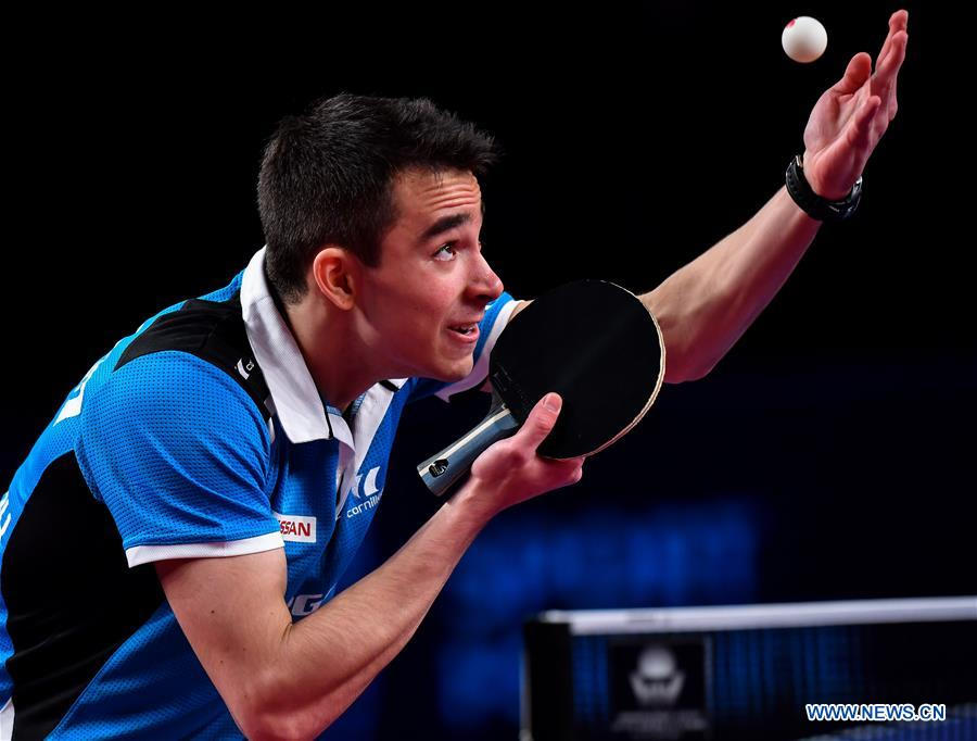 Hugo Calderano of Brazil serves during the men's singles final match against Fan Zhendong of China at ITTF World Tour Platinum, Qatar Open in the Qatari capital Doha on March 11, 2018. Hugo Calderano lost 0-4. (Xinhua/Nikku)<br/>