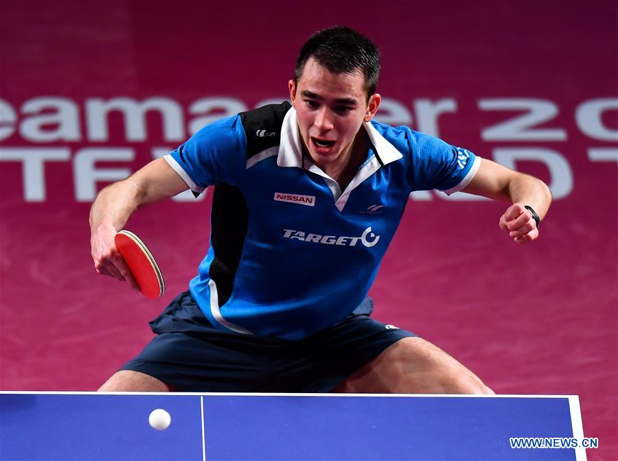 Hugo Calderano of Brazil returns the ball during the men's singles final match against Fan Zhendong of China at ITTF World Tour Platinum, Qatar Open in the Qatari capital Doha on March 11, 2018. Hugo Calderano lost 0-4. (Xinhua/Nikku)<br/>