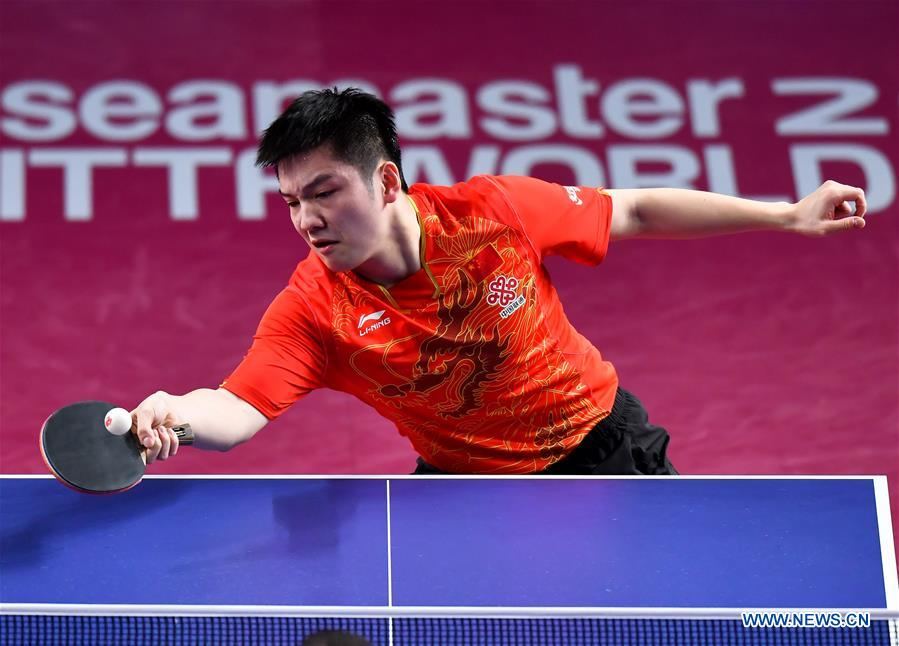 Fan Zhendong of China returns the ball during the men's singles final match against Hugo Calderano of Brazil at ITTF World Tour Platinum, Qatar Open in the Qatari capital Doha on March 11, 2018. Fan Zhendong won 4-0. (Xinhua/Nikku)<br/>
