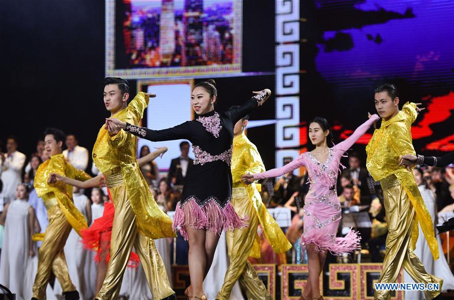 Actors perform during the opening ceremony of the 8th Beijing International Film Festival (BJIFF) in Beijing, capital of China, April 15, 2018. (Xinhua/Purbu Zhaxi)<br/>