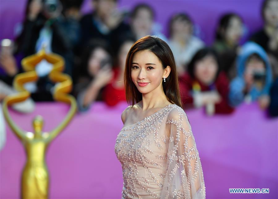 Actress Lin Chi-ling poses on the red carpet for the closing ceremony of the 8th Beijing International Film Festival (BJIFF) in Beijing, capital of China, April 22, 2018. (Xinhua/Jin Liangkuai)<br/>
