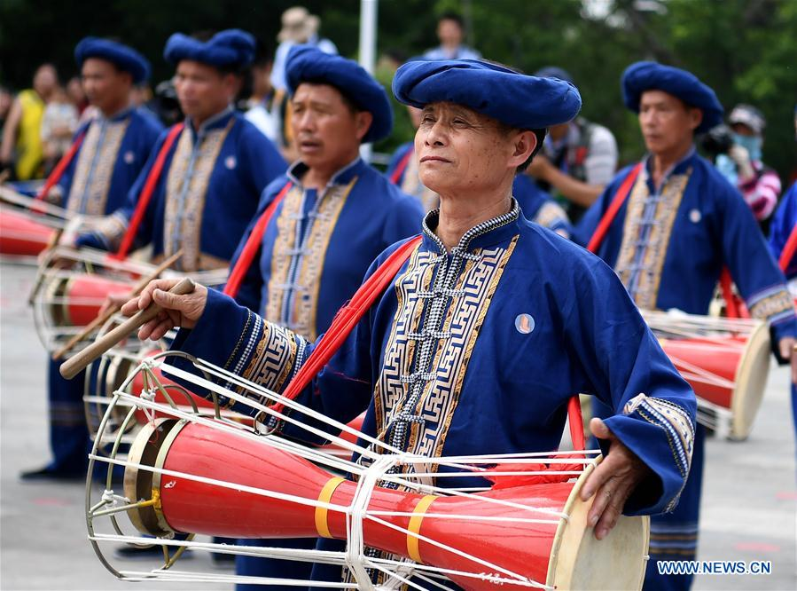 People of Zhuang ethnic group perform drum dance during the Buluotuo folk cultural tourism festival in Tianyang County, Baise City of south China's Guangxi Zhuang Autonomous Region, April 22, 2018. (Xinhua/Zhang Ailin)<br/>
