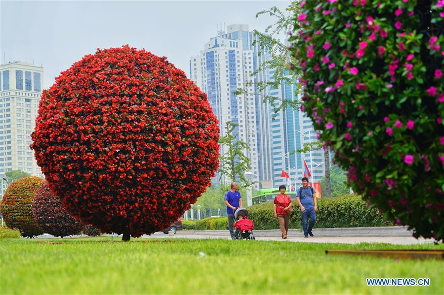 Photo taken on June 4, 2018 shows installations made of flowers in Qingdao, east China's Shandong Province. The 18th Shanghai Cooperation Organization (SCO) Summit is scheduled for June 9 to 10 in Qingdao. (Xinhua/Xing Guangli)<br/>