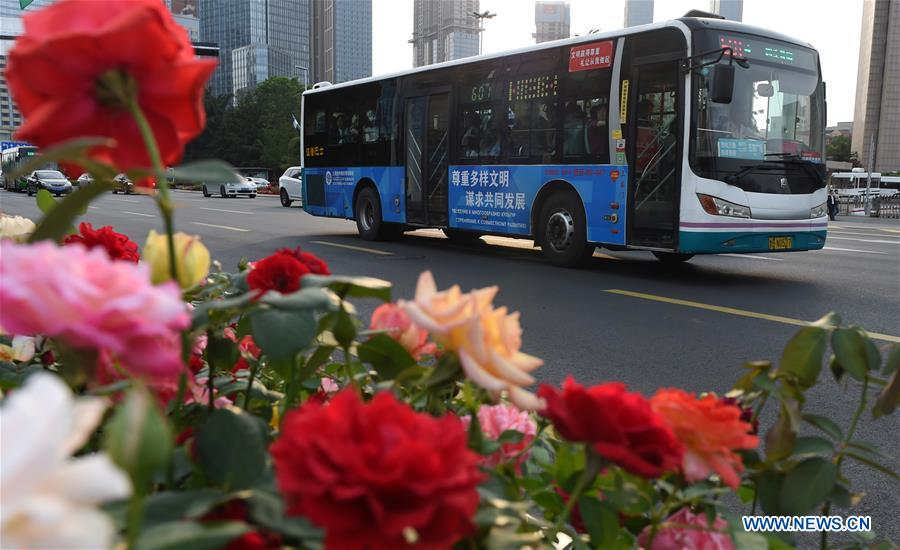 A bus runs on a street in Qingdao, east China's Shandong Province, June 4, 2018. The 18th Shanghai Cooperation Organization (SCO) Summit is scheduled for June 9 to 10 in Qingdao. (Xinhua/Ma Ning)
