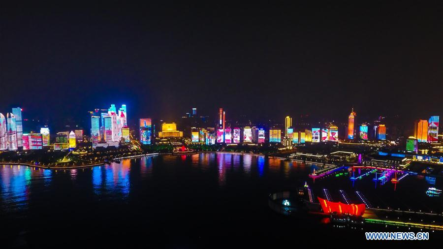 Photo taken on May 7, 2018 shows the night view of Fushan Bay in Qingdao, east China's Shandong Province. The 18th Shanghai Cooperation Organization (SCO) Summit is scheduled for June 9 to 10 in Qingdao. (Xinhua/Guo Xulei)