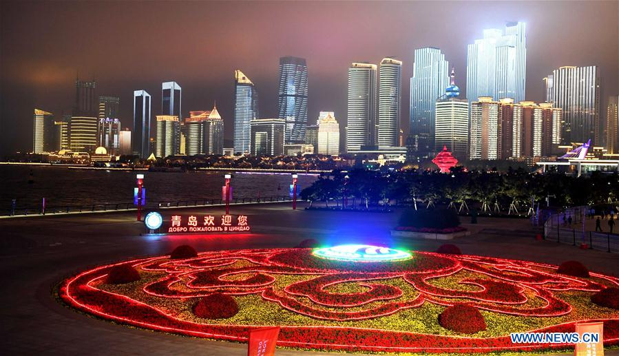 Photo taken on June 4, 2018 shows the night view near Olympic Sailing Center in Qingdao, east China's Shandong Province. The 18th Shanghai Cooperation Organization (SCO) Summit is scheduled for June 9 to 10 in Qingdao. (Xinhua/Liu Junxi)<br/>