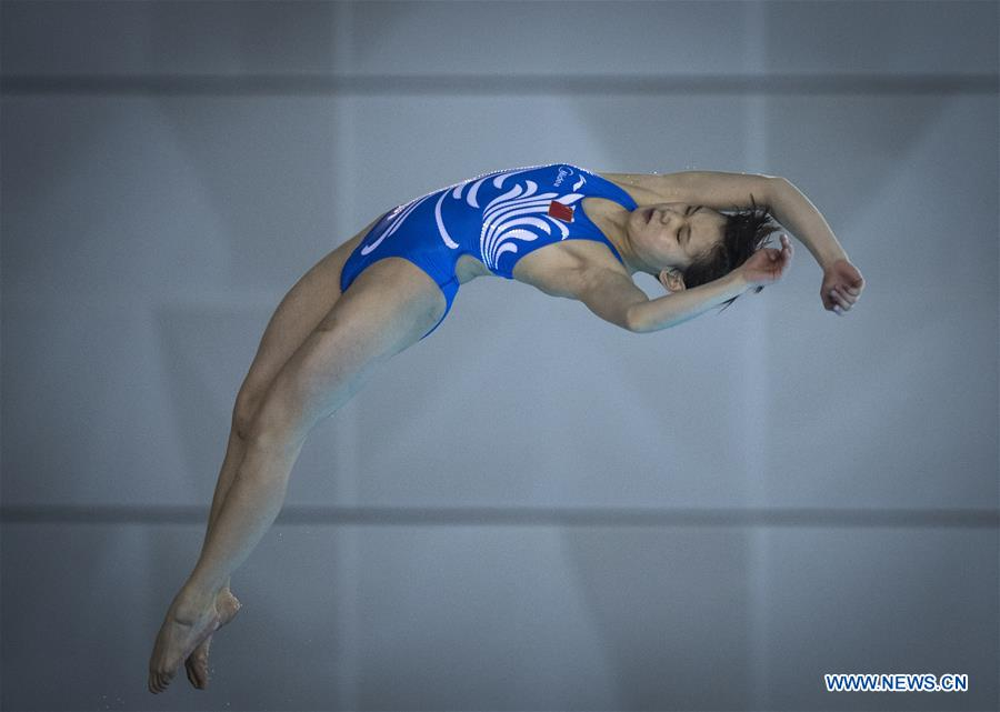 China's Zhang Jiaqi competes during the women's 10m platform final at the FINA Diving World Cup 2018 in Wuhan, central China's Hubei Province, on June 6, 2018. Zhang Jiaqi claimed the title with a total of 427.30 points. (Xinhua/Xiao Yijiu)<br/>