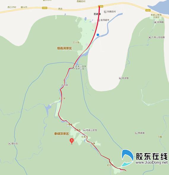 红色线条为大修路段