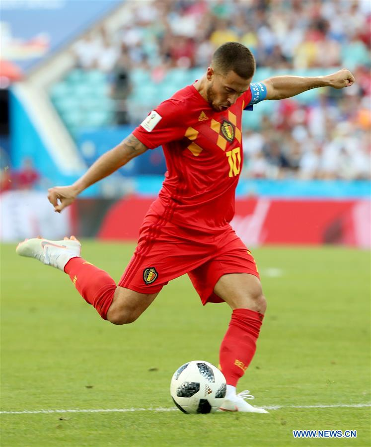 Eden Hazard of Belgium shoots during a group G match between Belgium and Panama at the 2018 FIFA World Cup in Sochi, Russia, June 18, 2018. (Xinhua/Bai Xueqi)<br/>