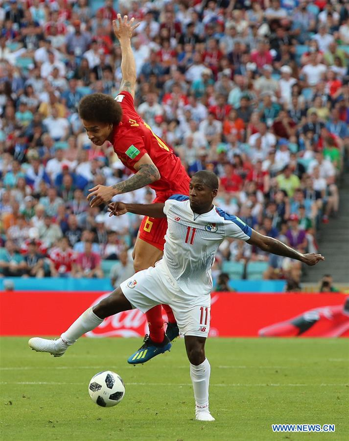 Axel Witsel (top) of Belgium vies with Armando Cooper of Panama during a group G match between Belgium and Panama at the 2018 FIFA World Cup in Sochi, Russia, June 18, 2018. (Xinhua/Bai Xueqi)