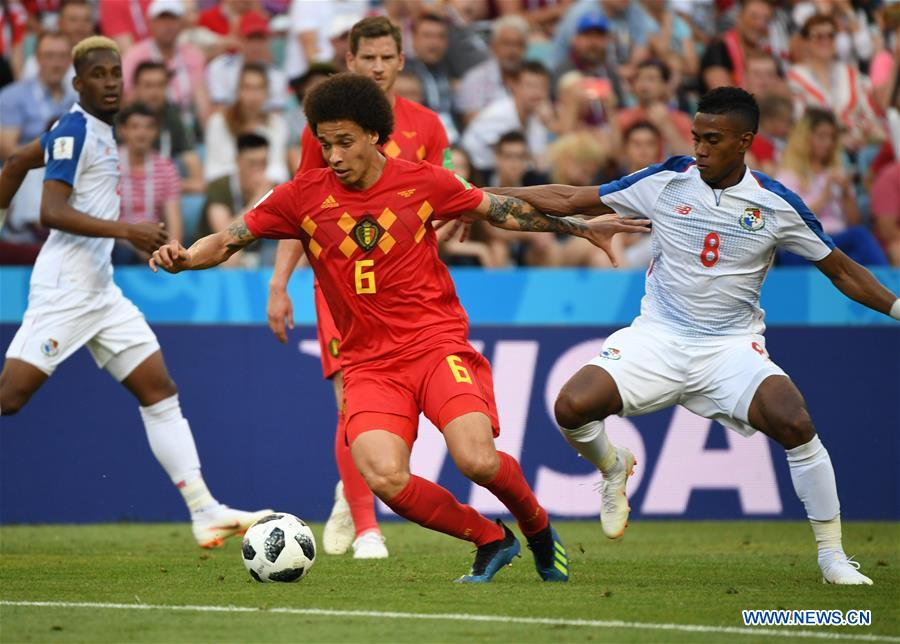 Axel Witsel (L front) of Belgium vies with Edgar Barcenas (1st R) of Panama during a group G match between Belgium and Panama at the 2018 FIFA World Cup in Sochi, Russia, June 18, 2018. (Xinhua/Du Yu)<br/>