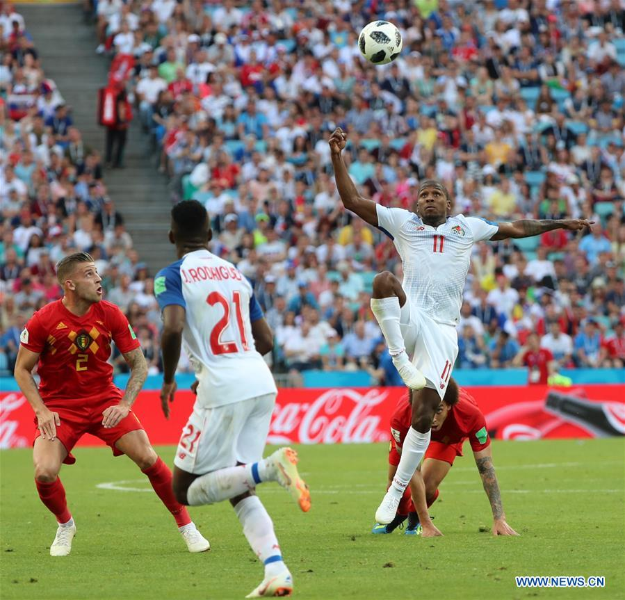 Armando Cooper (R top) of Panama competes during a group G match between Belgium and Panama at the 2018 FIFA World Cup in Sochi, Russia, June 18, 2018. (Xinhua/Bai Xueqi)<br/>