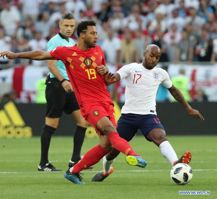 Moussa Dembele (L front) of Belgium vies with Fabian Delph of England during the 2018 FIFA World Cup Group G match between England and Belgium in Kaliningrad, Russia, June 28, 2018. (Xinhua/Bai Xueqi)<br/>