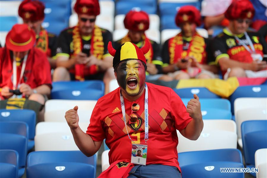 A fan of Belgium cheers prior to the 2018 FIFA World Cup Group G match between England and Belgium in Kaliningrad, Russia, June 28, 2018. (Xinhua/Bai Xueqi)<br/>