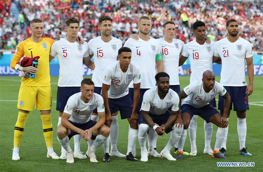 Players of England pose for a group photo prior to the 2018 FIFA World Cup Group G match between England and Belgium in Kaliningrad, Russia, June 28, 2018. (Xinhua/Cao Can)<br/>