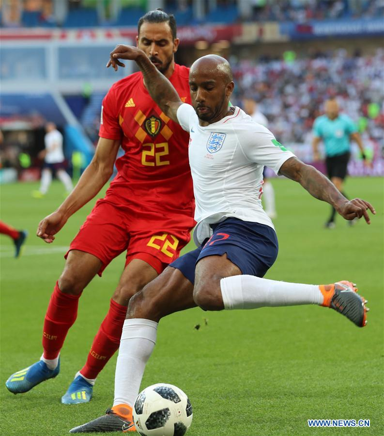 Fabian Delph (R) of England vies with Nacer Chadli of Belgium during the 2018 FIFA World Cup Group G match between England and Belgium in Kaliningrad, Russia, June 28, 2018. (Xinhua/Bai Xueqi)<br/>