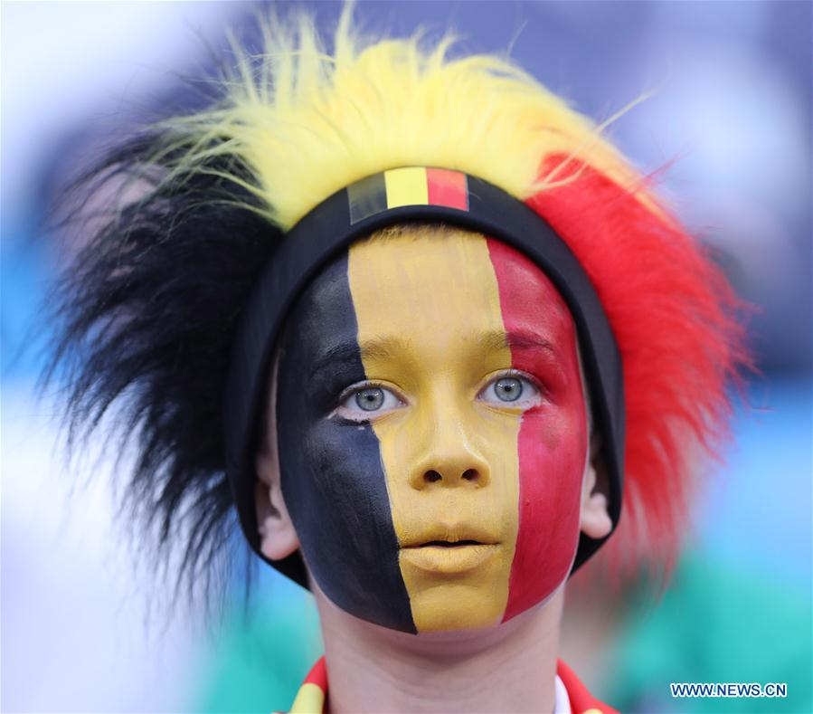 A fan of Belgium is seen prior to the 2018 FIFA World Cup Group G match between England and Belgium in Kaliningrad, Russia, June 28, 2018. (Xinhua/Cao Can)<br/>