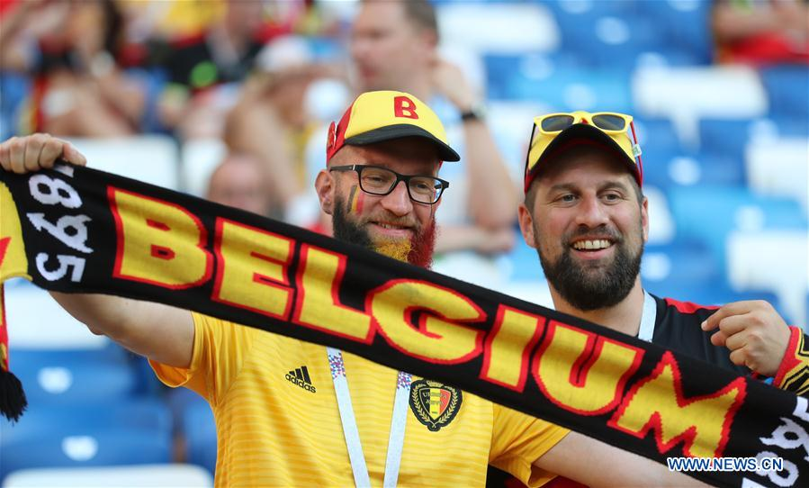 Fans of Belgium pose for photos prior to the 2018 FIFA World Cup Group G match between England and Belgium in Kaliningrad, Russia, June 28, 2018. (Xinhua/Bai Xueqi)<br/>