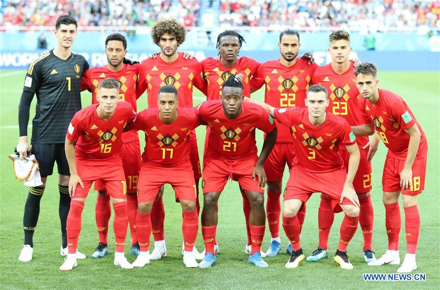 Players of Belgium pose for a group photo prior to the 2018 FIFA World Cup Group G match between England and Belgium in Kaliningrad, Russia, June 28, 2018. (Xinhua/Xu Zijian)<br/>
