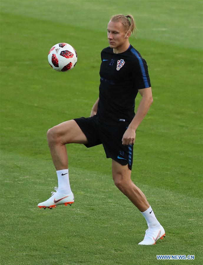 Croatia's Domagoj Vida attends a training session in Moscow, Russia on July 9, 2018. (Xinhua/Bai Xueqi)<br/>