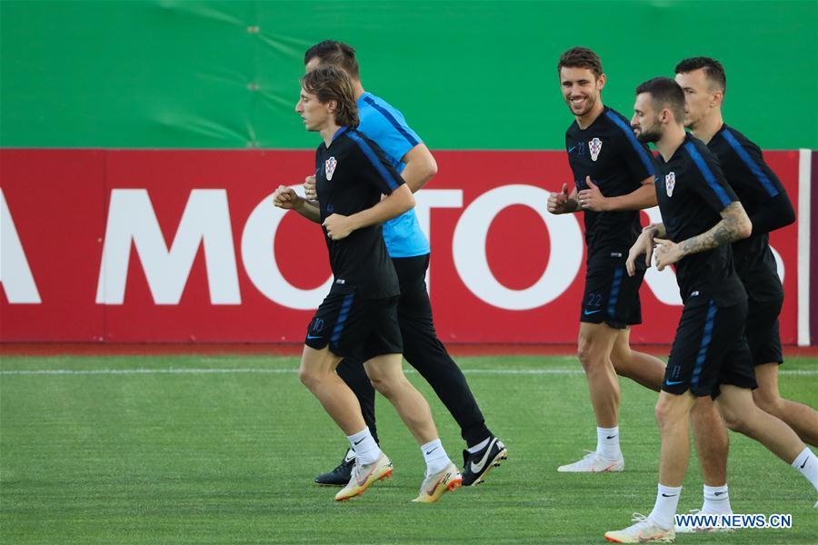 Croatia's Luka Modric(1st L) attends a training session in Moscow, Russia on July 9, 2018. (Xinhua/Bai Xueqi)