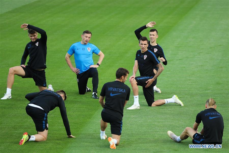 Croatia's players attend a training session in Moscow, Russia on July 9, 2018. (Xinhua/Bai Xueqi)<br/>
