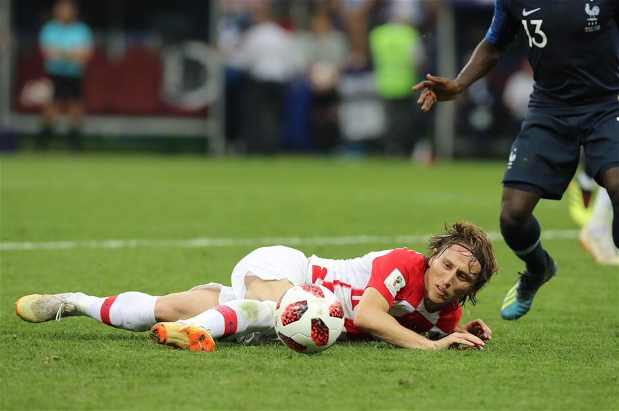 Luka Modric of Croatia is seen during the 2018 FIFA World Cup final match between France and Croatia in Moscow, Russia, July 15, 2018. (Xinhua/Yang Lei)<br/>