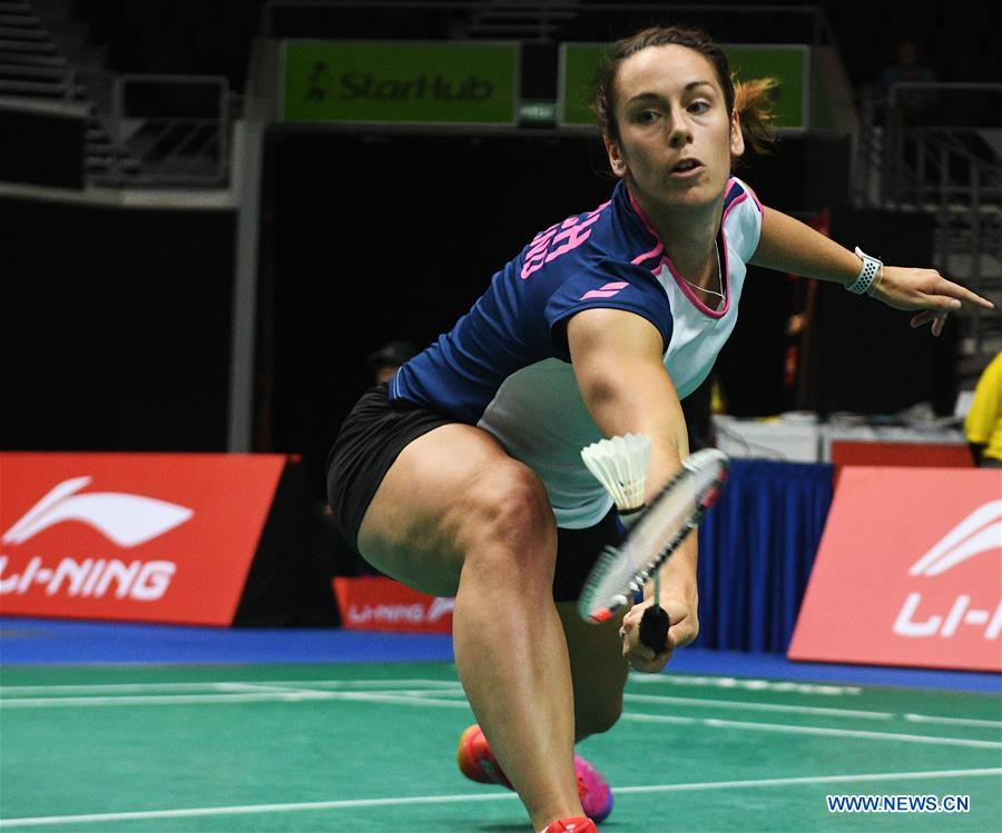 Chloe Birch of England hits a return during the women's singles second round match against Nitchaon Jindapol of Thailand at 2018 Singapore Badminton Open held at Singapore Indoor Stadium in Singapore, on July 19, 2018. Chloe Birch lost 0-2. (Xinhua/Then Chih Wey)<br/>