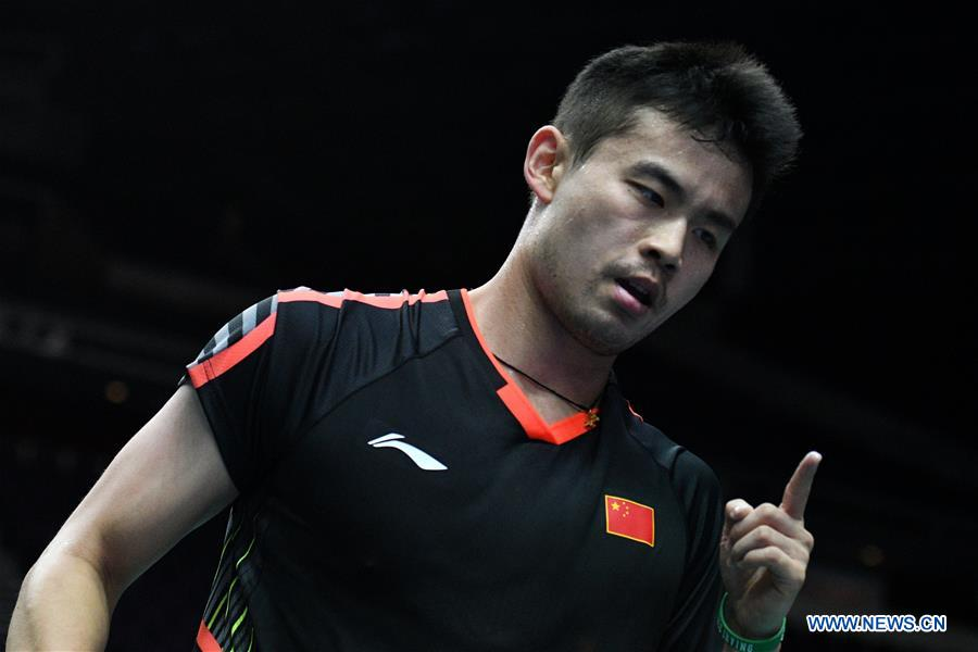 Qiao Bin of China reacts during the men's singles second round match against Yu Igarashi of Japan at 2018 Singapore Badminton Open held at Singapore Indoor Stadium in Singapore, on July 19, 2018. Qiao Bin won by 2-0. (Xinhua/Then Chih Wey)