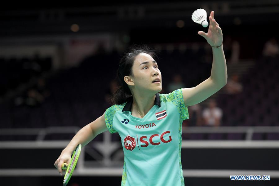 Nitchaon Jindapol of Thailand serves during the women's singles second round match against Chloe Birch of England at 2018 Singapore Badminton Open held at Singapore Indoor Stadium in Singapore, on July 19, 2018. Nitchaon Jindapol won 2-0. (Xinhua/Then Chih Wey)<br/>