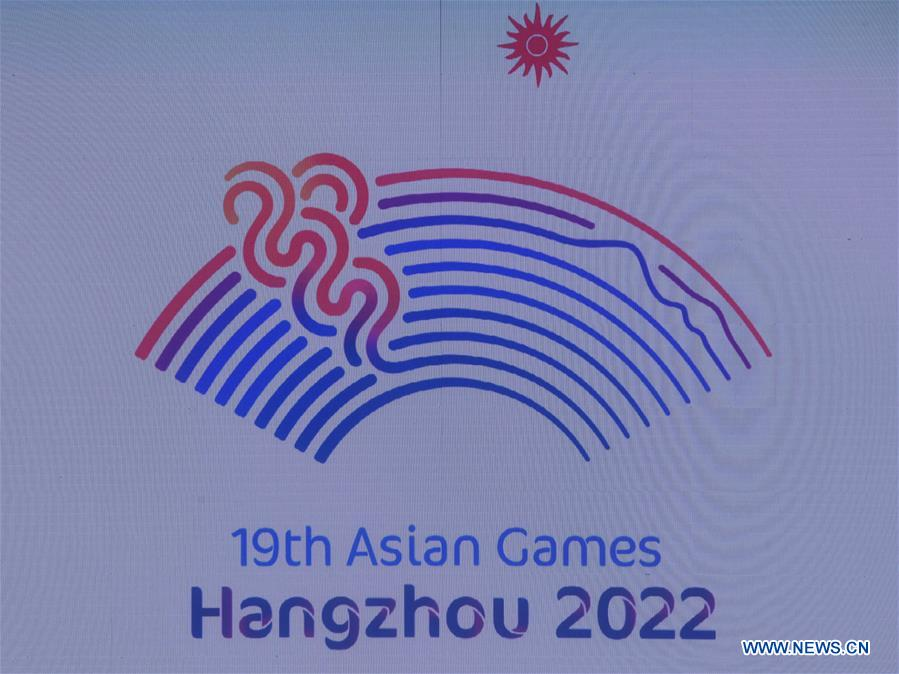 Photo taken on Aug. 6, 2018 shows the Emblem at the Launch Ceremony for the 19th Asian Games Hangzhou 2022 in Hangzhou, capital of east China's Zhejiang Province.(Xinhua/Huang Zongzhi)<br/>