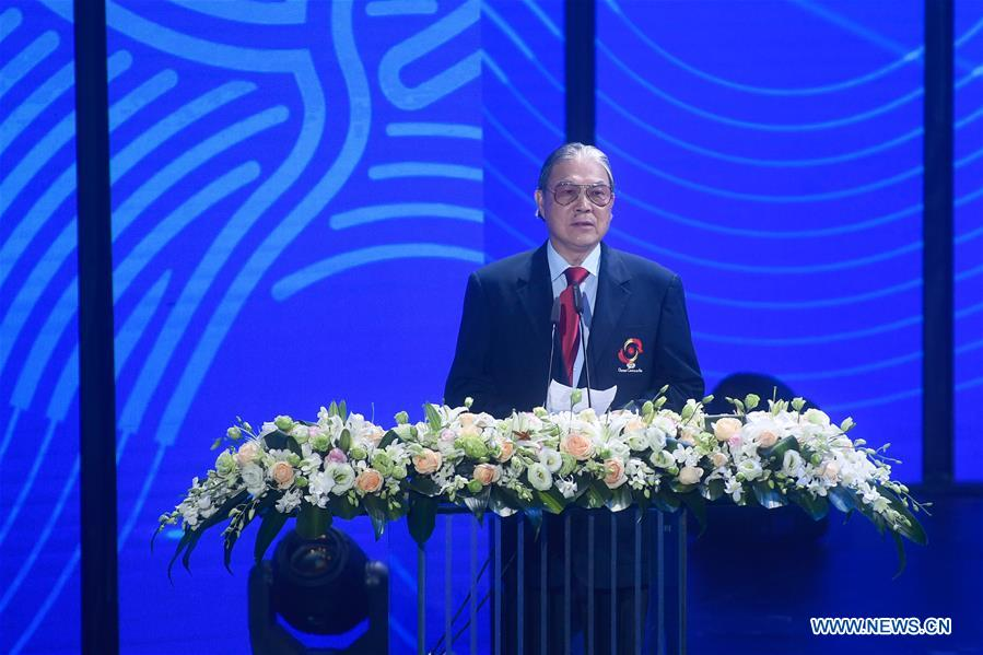 Timothy Fok Tsun-ting, vice Chairman of Olympic Council of Asia, speaks during the Emblem Launch Ceremony for the 19th Asian Games Hangzhou 2022 on Aug. 6, 2018, in Hangzhou, capital of east China's Zhejiang Province.(Xinhua/Huang Zongzhi)<br/>