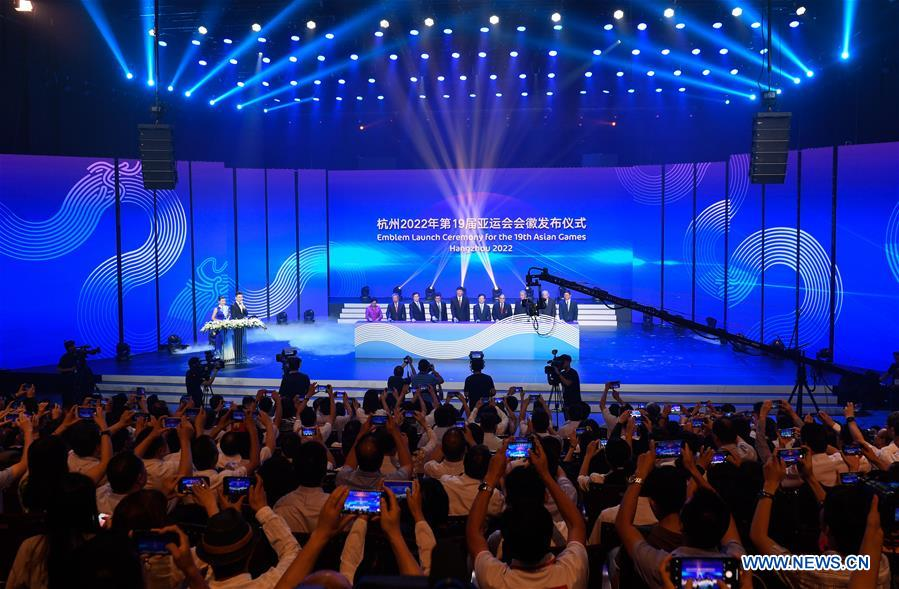 Photo taken on Aug. 6, 2018 shows the Emblem Launch Ceremony for the 19th Asian Games Hangzhou 2022 in Hangzhou, capital of east China's Zhejiang Province. (Xinhua/Huang Zongzhi)