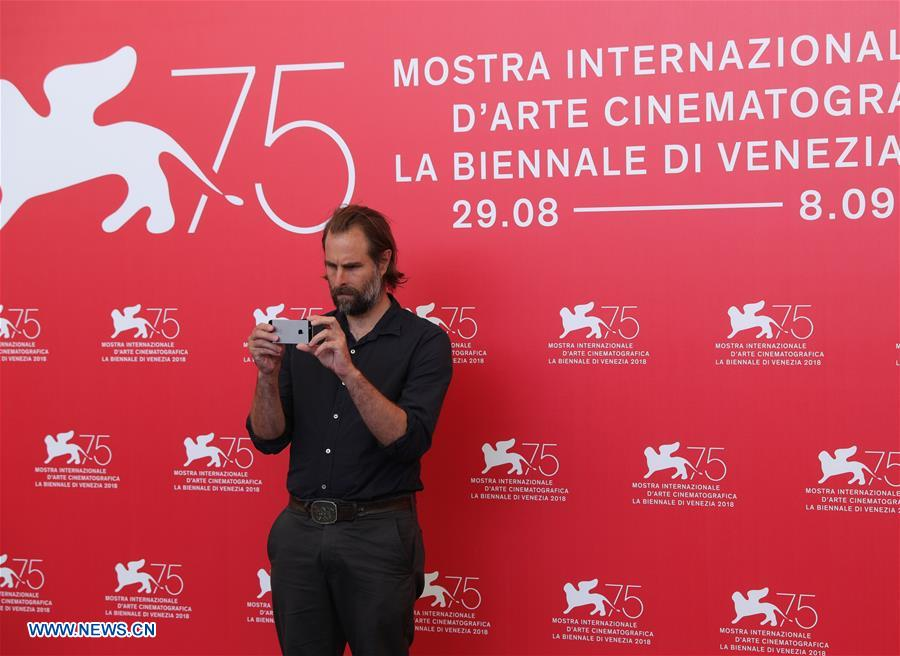 Director Rick Alverson attends &quot;The Mountain&quot; photocall during the 75th Venice Film Festival at Sala Casino, Venice, Italy, Aug. 30, 2018. (Xinhua/Cheng Tingting)<br/>