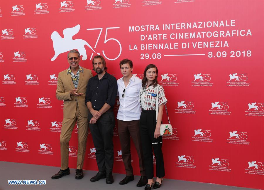 Actor Jeff Goldblum, director Rick Alverson, actor Tye Sheridan and actress Hannah Gross (L-R) attend &quot;The Mountain&quot; photocall during the 75th Venice Film Festival at Sala Casino, Venice, Italy, Aug. 30, 2018. (Xinhua/Cheng Tingting)<br/>