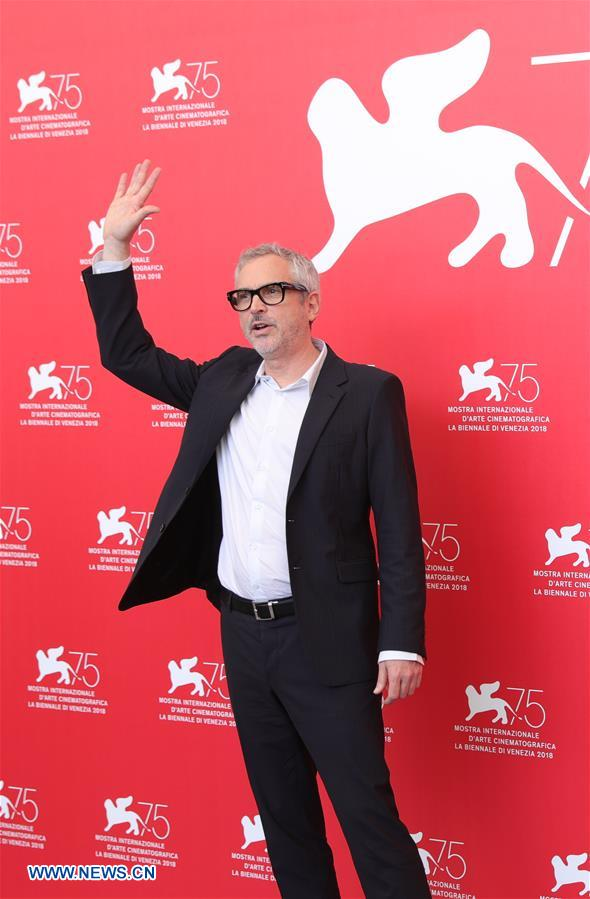 Director Alfonso Cuaron attends &quot;Roma&quot; photocall during the 75th Venice Film Festival at Sala Casino, Venice, Italy, Aug. 30, 2018. (Xinhua/Cheng Tingting)<br/>