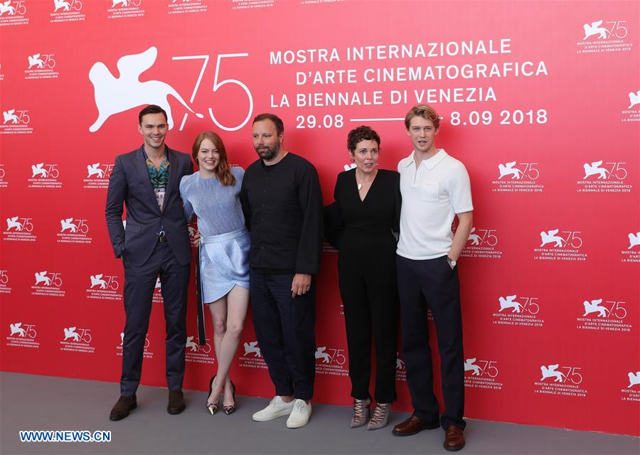 """Actor Nicolas Hoult, actress Emma Stone, director Yorgos Lanthimos, actress Olivia Colman and actor Joe Alwyn (L-R) attend """"The Favourite"""" photocall during the 75th Venice Film Festival at Sala Casino, Venice, Italy, Aug. 30, 2018. (Xinhua/Cheng Tingting)"""