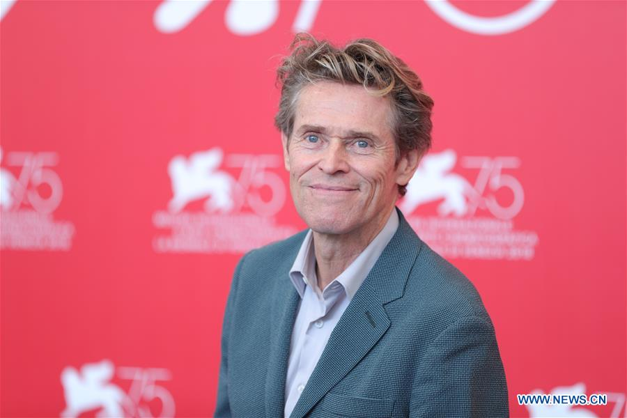 Actor Willem Dafoe attends &quot;At Eternity's Gate&quot; photocall during the 75th Venice International Film Festival at Sala Casino, Venice, Italy, Sept. 3, 2018. (Xinhua/Cheng Tingting)<br/>