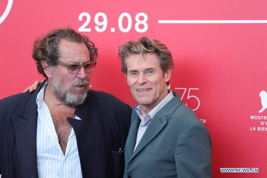 Willem Dafoe (R) and Julian Schnabel attend &quot;At Eternity's Gate&quot; photocall during the 75th Venice International Film Festival at Sala Casino, Venice, Italy, Sept. 3, 2018. (Xinhua/Cheng Tingting)<br/>
