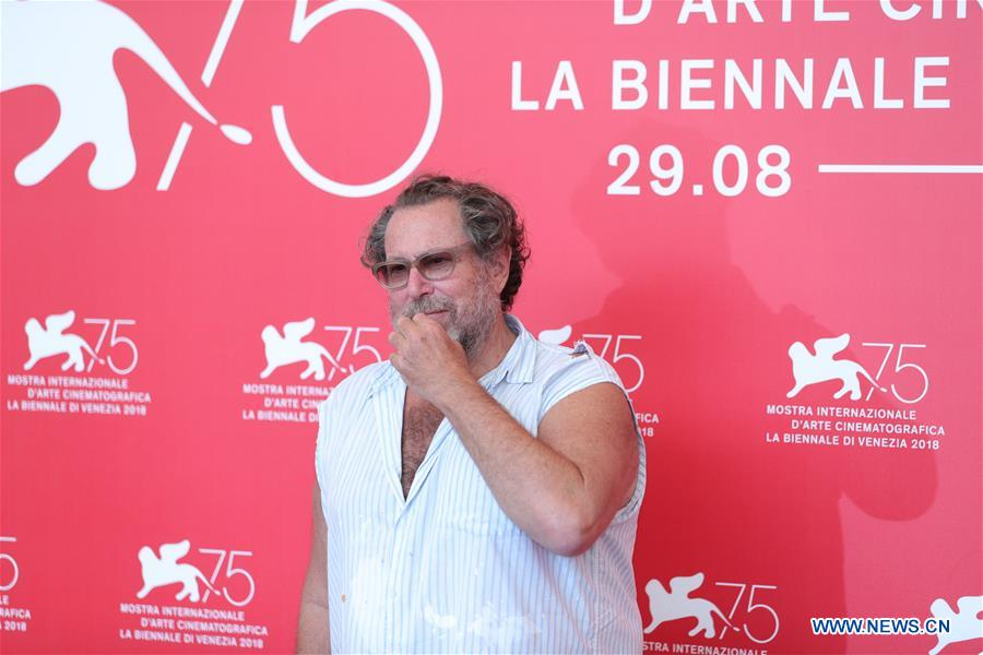 Director Julian Schnabel attends &quot;At Eternity's Gate&quot; photocall during the 75th Venice International Film Festival at Sala Casino, Venice, Italy, Sept. 3, 2018. (Xinhua/Cheng Tingting)<br/>